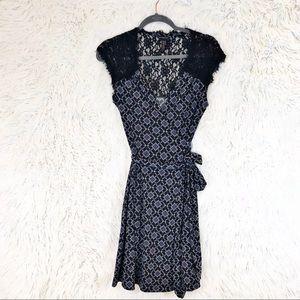 Banana Republic lace yoke printed wrap dress